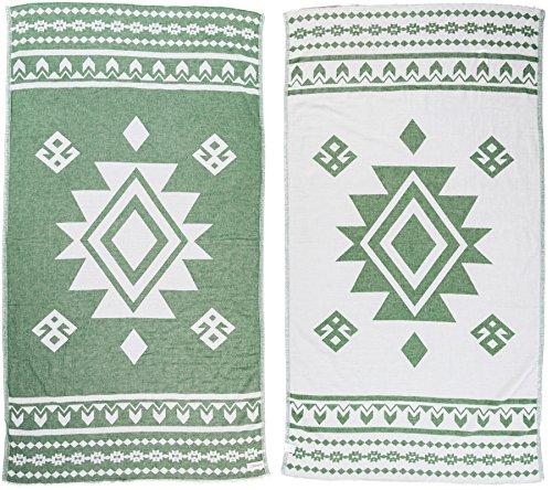 Bersuse 100% Algodon - Uxmal Toalla Turca - Fouta Toalla de Playa y Toalla de Baño - Doble Capa - Diseño Azteca, Oeko-Tex - 95 x 175 cm, Bosque Verde (Conjunto de 6)