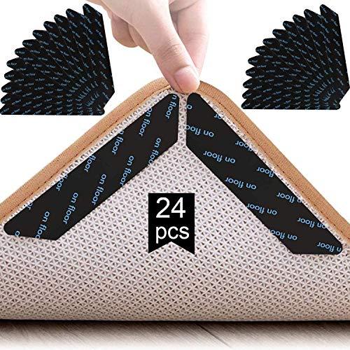 TATAFUN Teppichgreifer Antirutschmatte, 24 Stück Waschbar Antirutschmatte für Teppich Wiederverwendbar Teppichunterlage Aufkleber Starke Klebrigkeit (Schwarz)