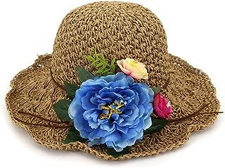 Summer hat Handmade Women Crochet Flower Women Stubble Hat Sun Hat Lady Summer Beach Sun Hat hat (Color : Coffee, Size : 56-58CM)