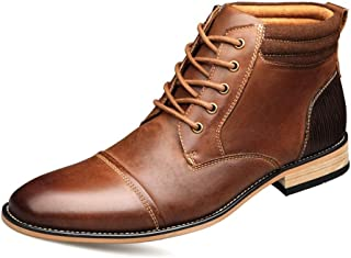Ping.Feng Men Ankle Boots For Chukka Boot Casual Lace Up Genuine Leather Side Zipper Wood-Like Sole Burnished Style Stitch Non-slip Chukka Boots (Color : Brown, Size : 50 EU)