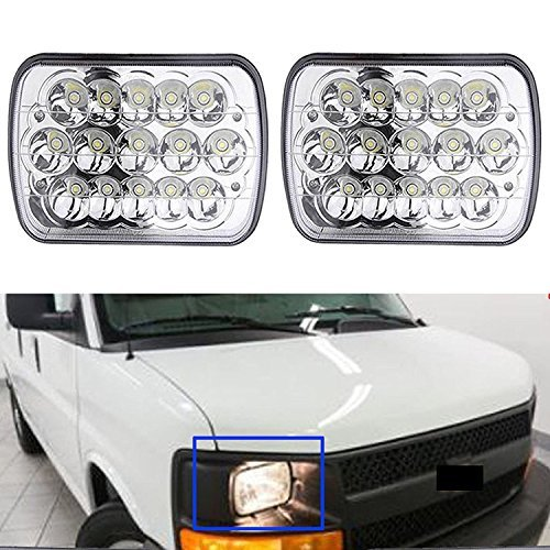 7X6' Inch LED Headlight for Chevy Express Cargo Van 1500 2500 3500 Ford F650 High Low Beam H6014 / H6052 / H6054 / 6054, H4 Plug Replacement Kit Sealed Beam Super Bright