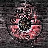 BFMBCHDJ Nail Salon Manicure Vinyl Record Reloj de Pared Salón de Belleza Decoración Reloj de Pared Polaco Reloj Colgante de Pared Regalos para su manicurista