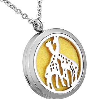 Essential Oils Aromatherapy Diffuser Locket Necklace Stainless Steel Perfume Jewelry for Women Men