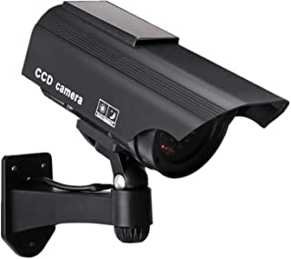 Dummy Solar Security Camera, Bullet Fake Surveillance System with Realistic Red Flashing Lights and Warning Sticker Indoor...