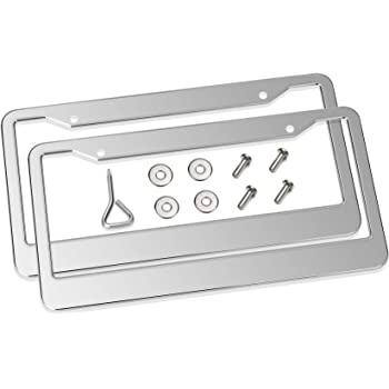 Tokept Black Stainless Steel License Plate Frame with 2 Holes Pack of 2