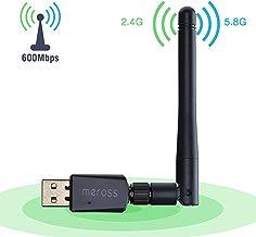 VicTsing Adaptador Antena WiFi USB Largo Alcance 600Mbps, Adaptador Inalámbrico,Dual Band (5GHz 433Mbps/2.4GHz 150Mbps) con Antena 5dBi,Dongle WiFi,Mini Receptor para Windows XP/Vista/7/8/10 Mac OS