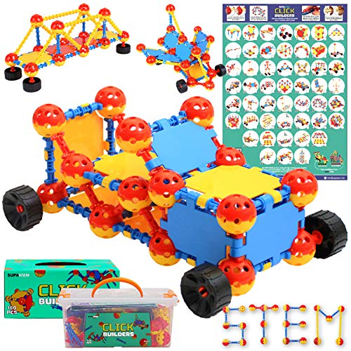SUPA STEM Kids Construction Set - 160 pcs Creative Building Blocks Toy with Storage Box & Poster - Engineering Construction Kit for STEM learning, Model Building & More - STEM Toys For Girls & Boys 3+