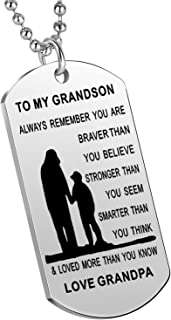 Nimteve Inspirational Gifts Grandson from Grandmother Grandfather Always Remember You are Braver Stronger Smarter Boys Nec...