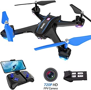zuhafa S6 RC Drone with 720P FPV Wi-Fi HD Camera,Wide-Angle Live Video Quadcopter Indoor and Outdoor Sport Game Gifts for Kids - Altitude Hold,Gravity Sensor,Voice Command Control,VR Mode,Track Route