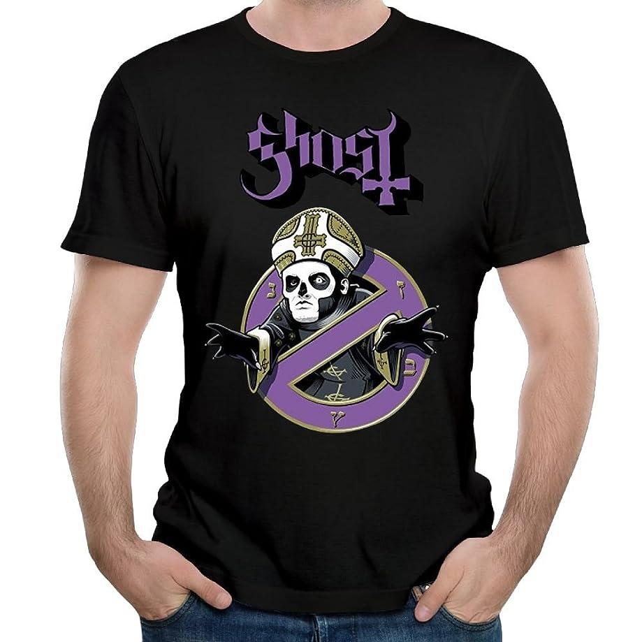 Madeleine Ellis Men's Ghost with The Bands Logo Soft Short Sleeve T Shirt Black