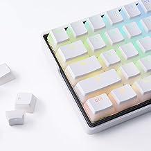 Dierya White PBT Double Shot Pudding Keycaps, 104 Keys Mechanical Keycaps Set - OEM Profile - Compatible with 60% TKL Full-Size Stand US Layout Mechanical Gaming Keyboard
