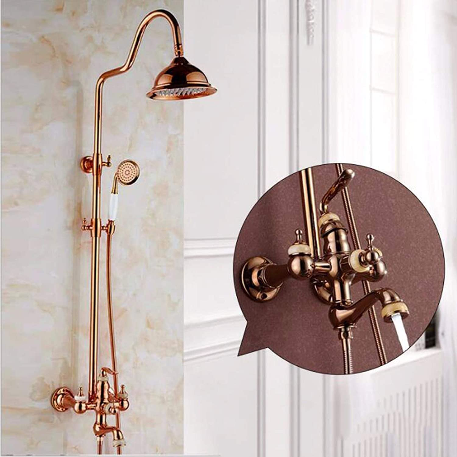 All-Copper European gold-Plated Antique Jade Diamond Two-Handed Wheel pink gold Shower Suit,H