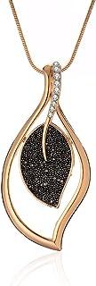 Collana pendente con ciondolo per donna, collana lunga in argento oro con collana nera con diamanti e cristallo per i migl...