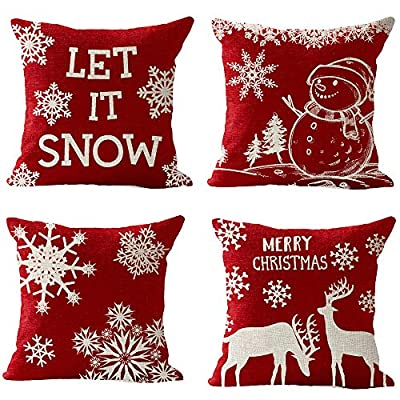 """Pack of 4 Merry Christmas Snowflake Let It Snow Snowman Pine Tree Elk Moose Blessing Gift Cotton Linen Square Throw Waist Pillow Case Decorative Cushion Cover Pillowcase Sofa 18""""x 18"""""""