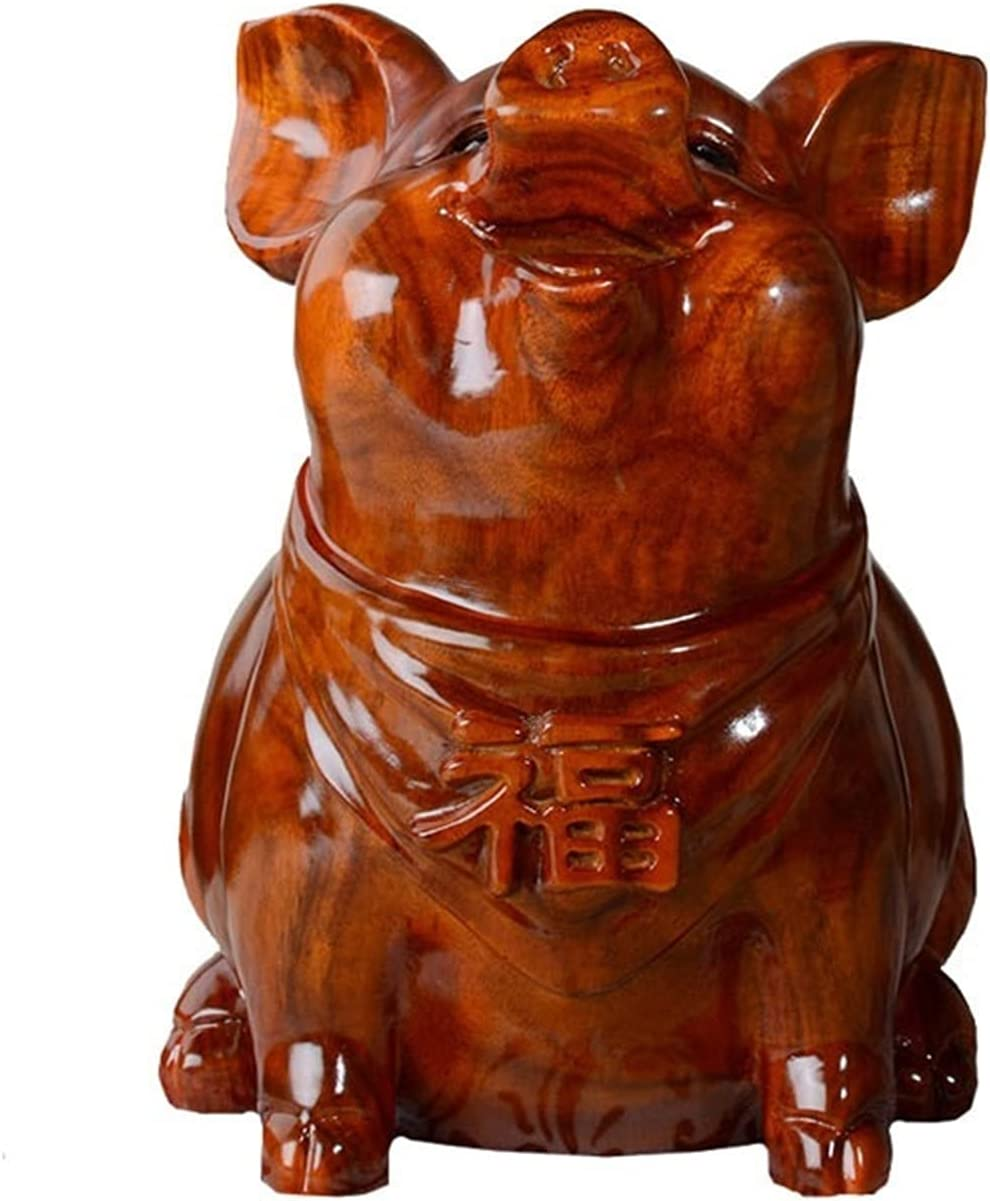 Fengshop Shipping included Piggy Bank gift Solid Wood Pig Change Fu Banknote