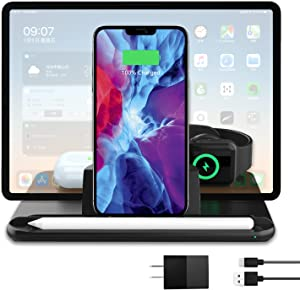 ibsun 4 in 1 Wireless Charging Station,Fast Wireless Charger for Apple,Wireless Charger Stand for iPhone12/12 Pro/Samsung,Charging Dock for iWatch/AirPods/Samsung Galaxy Buds/Apple Pencil 2