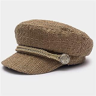 Thread Tweed Military Hat for Women Yacht Captain Female Skipper Sailor Hat Newsboy Caps
