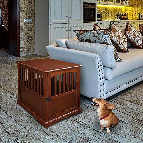 Casual Home Pet Crate End Table - Walnut