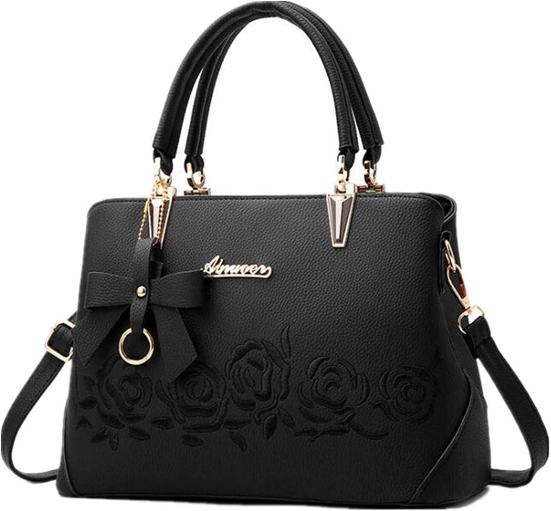NZZNB Simple Handbag Elegant Single Shoulder Bag Inclined Embroidery Lady Bag Bow Decoration Top-Handle Handbags