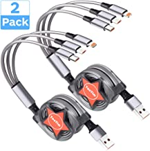 Multi Retractable 2.4A Fast Charger Cord, Yonyim Multiple Charging Cable 4Ft 3-in-1 USB Charge Cord with Phone/Type C/Micro USB for Phone/Huawei/Samsung Galaxy/Pixel/Sony/LG/HTC (2 Pack)
