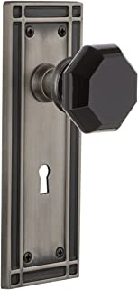 Nostalgic Warehouse 726331 Mission Plate Interior Mortise Waldorf Black Door Knob in Antique Pewter, 2.25 with Keyhole