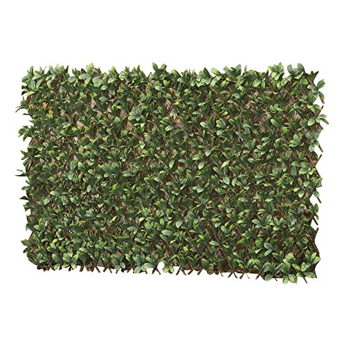 Artificial Evergreen Laurel Leaf Hedge Trellis 1 x 2m Expandable Privacy Screening Panel for Gardens, Balcony and Terraces
