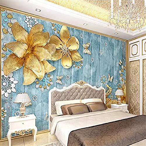 XHXI Golden Flowers and Deer Modern Decoration Hd Art Print Poster Picture Photo for Living Room Wall Decoration 3D Wallpaper Paste Living Room The Wall for Bedroom Mural border-350cm×256cm