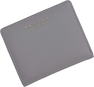 Small Leather Wallet for Women, Ladies Compact Bifold Pocket, Mini Short Purse with ID Window
