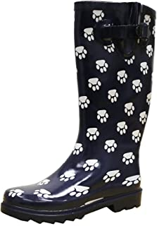 Women's Pattern Print Colorful Waterproof Welly Rain Boots