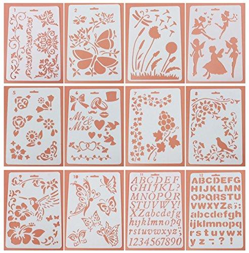 12Stück Tagebuch Schablonen Set, ♣ buyby Spielzeug Vorlage DIY Zeichnen Planer für Diary Scrapbook Craft Notebook