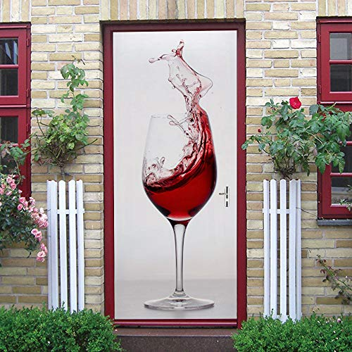 Puerta Pegatinas Mural Copa De Vino 3D Autoadhesiva Impermeable Fotomurales Pared 95 x 215 cm