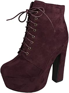 Lustacious Women's Chunky High Heels Lace Up Platform Ankle Bootie