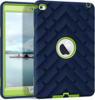 iPad Mini 4 Case, iPad A1538/A1550 Case, Hocase Rugged Shockproof Anti-Slip Hybrid Hard Shell+Silicone Rubber Bumper Protective Case for Apple iPad Mini 4th Generation 2015 - Navy Blue/Lime Green