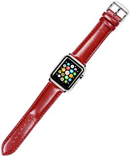 Debeer Replacement Watch Band - Smooth Leather - Red - Fits 38mm Apple Watch [Black Adapters]