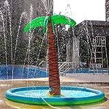 HALOFUN Sprinkle Splash Palm Tree Pad, Inflatable 70'' Water Play Spray Mat Toy Outdoor Backyard Sprinkler for Kids Summer Gift