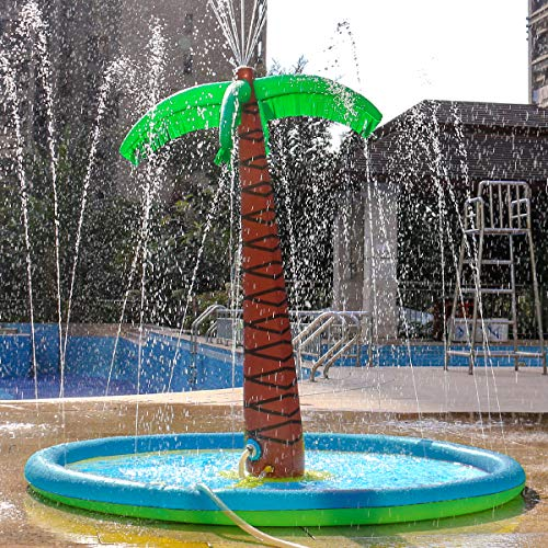 Palm Tree Sprinkle and Splash Water Play Pad, Inflatable 70'' Water Play Spray Mat Toy Outdoor Backyard Sprinkler for Kids Summer Gift