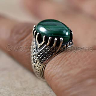natural malachite gemstone ring, solid 925 sterling silver ring, oxidized mans ring, engagement ring, oval shaped cabochon green stone ring, ottoman jewelry, islamic malachite ring, men's heavy ring