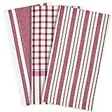 mDesign mDesign Set da 3 Strofinacci cucina con motivo a righe – Pratico set di canovacci cucina in cotone 100% – Colorati strofinacci asciugapiatti e stoviglie – rosso