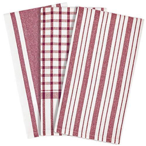 mDesign Juego de 3 trapos de cocina con diseño de rayas – Prácticos paños rectangulares de 100% algodón – Elegantes paños de tela para secar los platos – rojo