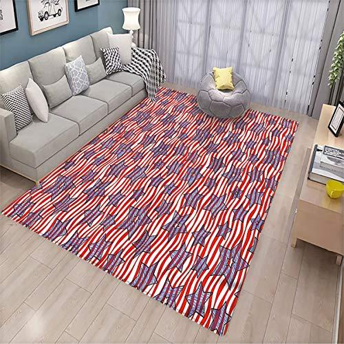 Striped Non-Slip Floor mat Doodle Stars Wavy Stripes Patio Door Floor mat Non-Slip Decoration
