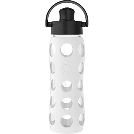 Lifefactory 22 Oz Glass Active Flip Cap/Silicone Sleeve Water Bottle, 22 Ounce, Optic White