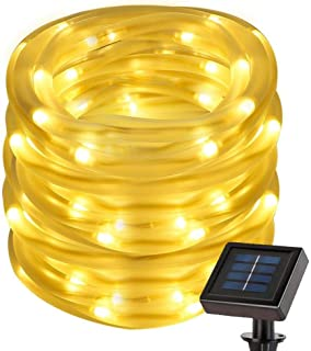 50 LEDs Warm White Solar Power String Lights, Waterproof Decorative Rope Light for Outdoor Christmas Tree, Garden, Patio, ...