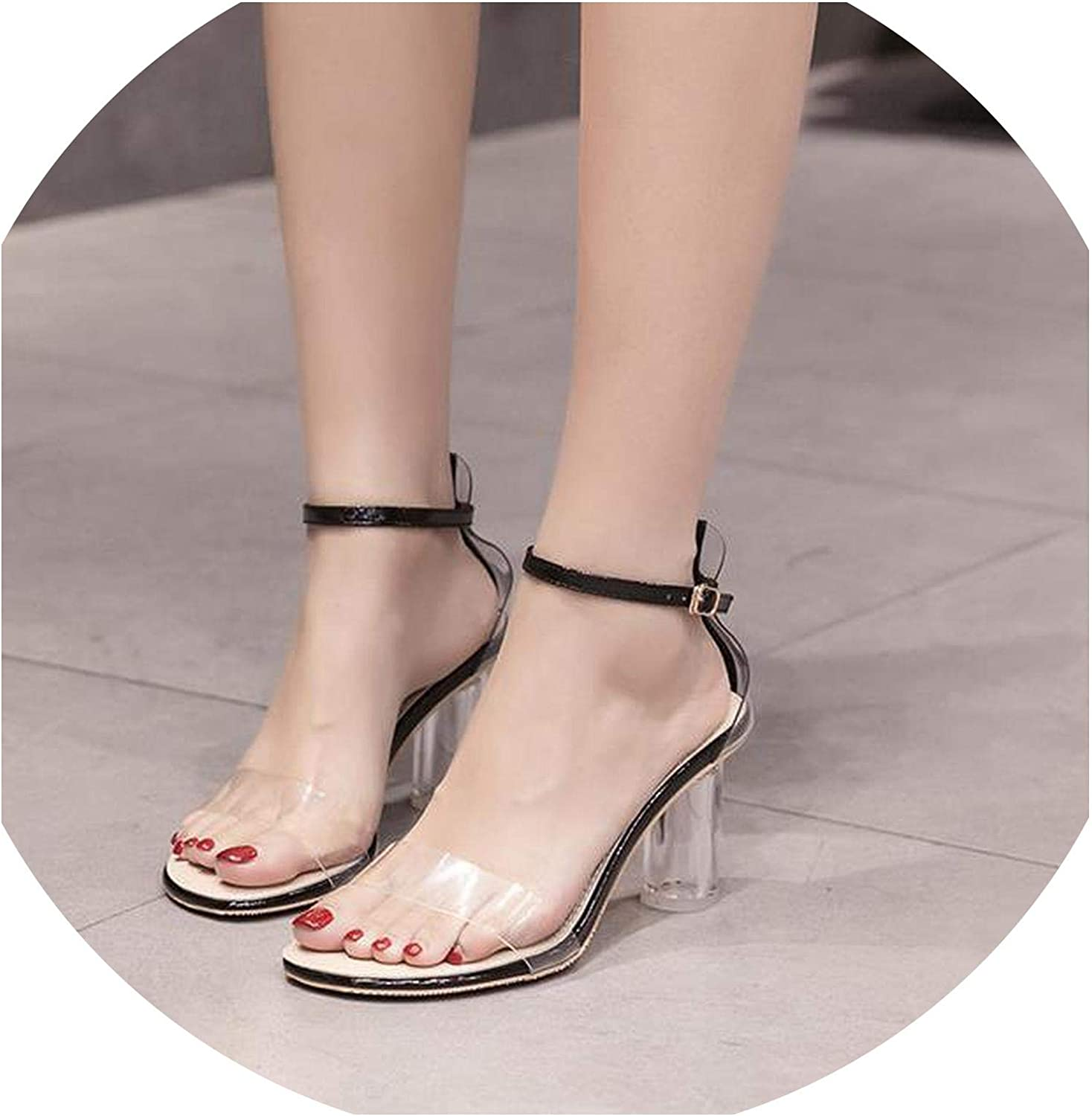 Transparent Sandals Female Summer 2019 New Round with Crystal high Heels