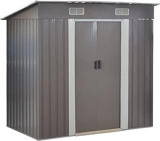 Goplus Garden Storage Shed Galvanized Steel Outdoor Heavy Duty Tool House w/Sliding Door, 4 x 6.2 Ft (Gray)