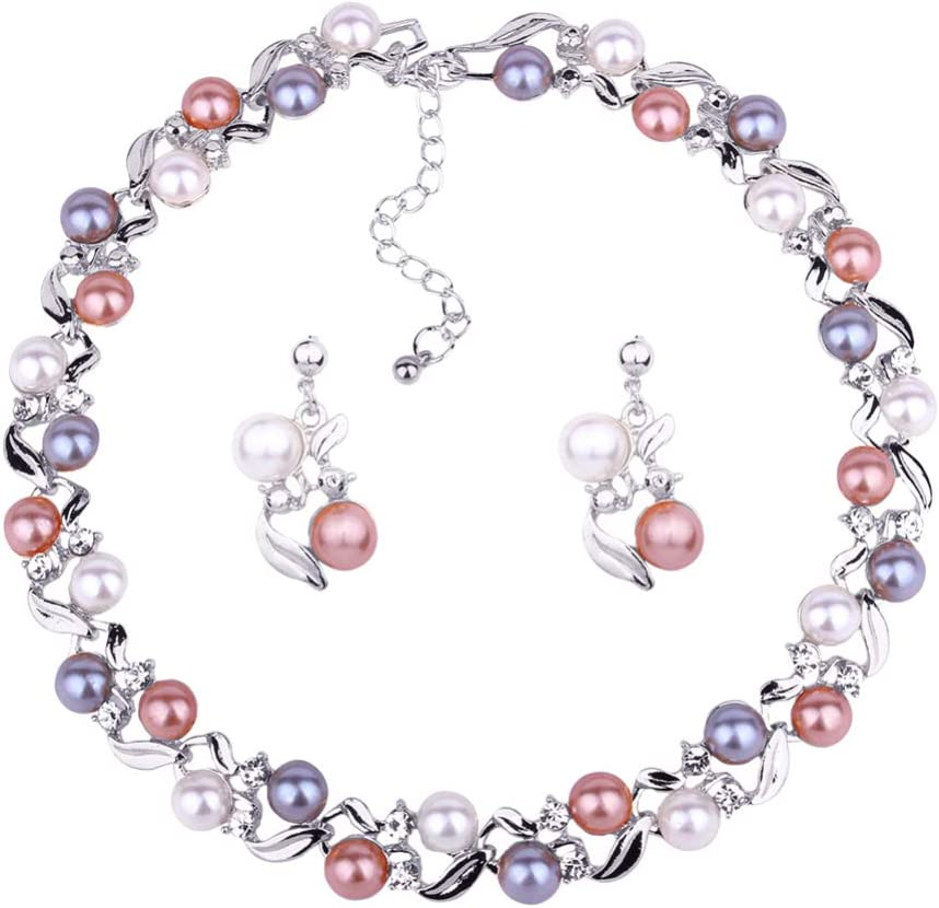 LFOEwpp7 Fashion Jewelry Set, Elegant Faux Pearl Rhinestone Necklace Ear Stud Earrings, Birthday Christmas Valentine's Day Decor Gift White K