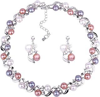 Zhouba - Set di collana da donna, alla moda, elegante, con perle finte e strass, orecchini a lobo