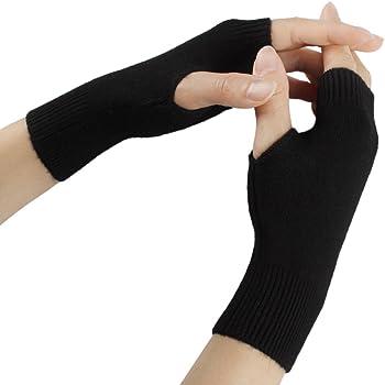 Paar elastisch dunkelgrau fingerlos Daumenloch Arm Handschuhe für Damen