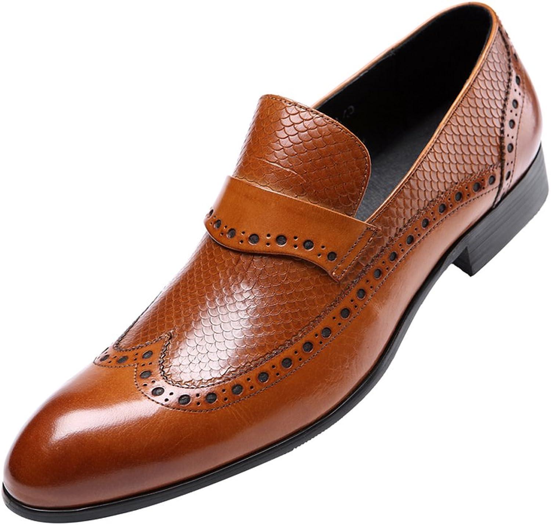 Dilize Men's Leather Slip on Formal Brogue Dress Oxfords