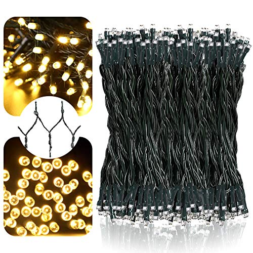 LetsFunny 108ft 300 LED Christmas String Lights, Christmas Lights - UL Certified Outdoor & Indoor Fairy Lights Christmas Tree, Patio, Garden, Party, Wedding, Halloween, Holiday Decoration,Warmlight