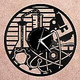 Reloj de Pared de Vinilo de química, Amigos, decoración de la habitación del hogar, diseño Vintage, Oficina, Bar, decoración del hogar, Reloj de Pared de Vinilo, Registro de época,